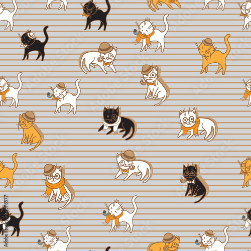 Materiał do szycia colorful cats seamless pattern. pets vector illustration for kids design