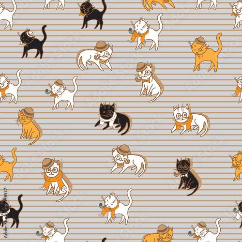 Materiał do szycia kotów kolorowy wzór. zwierzęta wektor ilustracja dla dzieci projekt