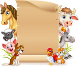 Cartoon funny farm animals with blank sign