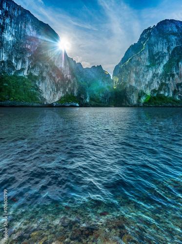 Felsen und Fische im glasklaren Meer vor Koh Phi Phi Lee in Thailand Poster