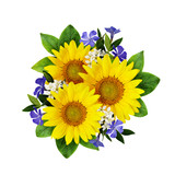Sunflowers and wild flowers bouquet