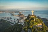 Fototapety Aerial view of Christ and Botafogo Bay from high angle.