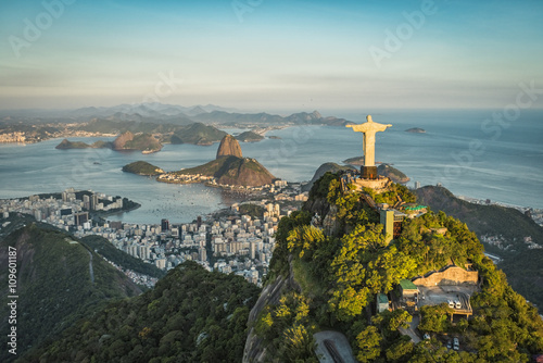 Aerial view of Christ and Botafogo Bay from high angle. Poster