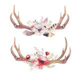 Watercolor bohemian deer horns. Western mammals. Watercolour hip - 109602594