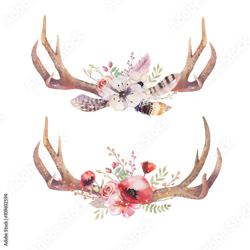 Watercolor bohemian deer horns. Western mammals. Watercolour hip