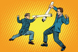Fototapety Businessmen fencing competition ideas