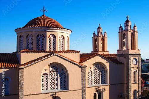ancient beautiful church Greece Rhodes summer sunny day