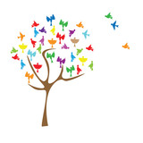 Abstract background. Tree with colored birds . Vector illustration. White background,