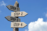Steps 1, 2, 3, 4 signpost - 109639330