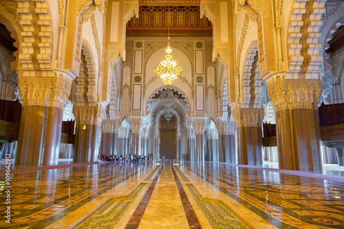 Great praying hall of Hassan II mosque in Casablanca, Morocco Poster