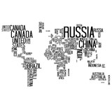 World Map Countries name Text / World Map with Countries name text, World Map Letter, World Map Typography