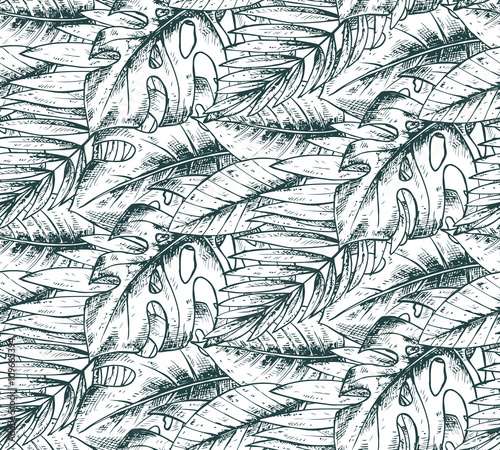 Panel Szklany Seamless pattern with hand drawn tropical plants