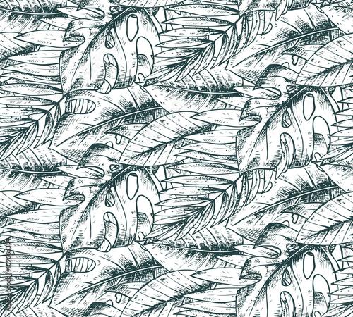 Fototapeta Seamless pattern with hand drawn tropical plants