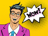 Fototapety Wow pop art man. Young surprised man in glasses with open mouth.