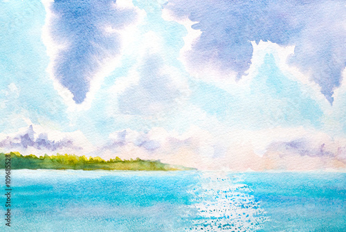 hand painted watercolor landscape with lake, sunlight, clouds