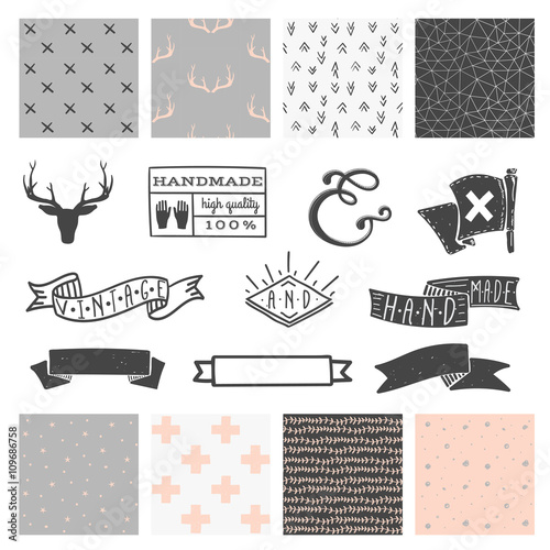 Aluminium Hipster Hert Set of 8 hipster hand drawn doodle seamless pattern and design elements