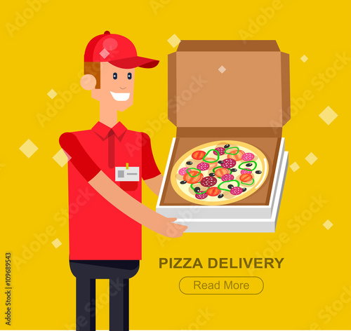 Fototapeta cartoon pizza delivery guy
