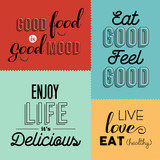 Fototapety Retro food quote designs set of colorful labels