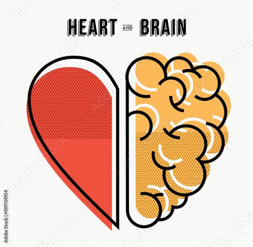 Zdjęcia na płótnie, fototapety, obrazy : Heart and brain concept design in modern style