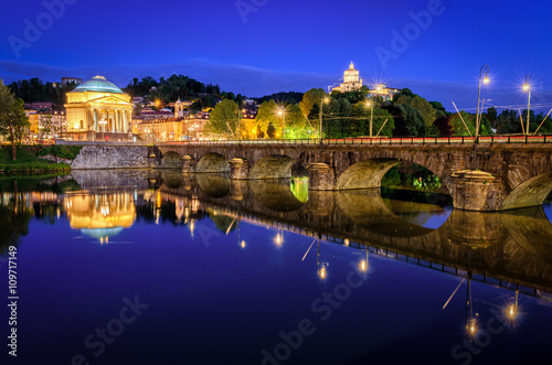 Poster Turin (Torino) river Po Grand Madre and Monte dei Cappuccini at blue hour