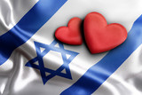 Love Israel. Two hearts on the flag.