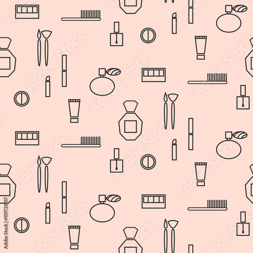 Cotton fabric Makeup objects and products seamless pattern. Outline thin cosmetic icons for website background or wrapping paper.