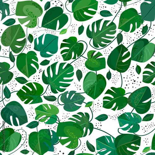 Cotton fabric Monstera leafs seamless pattern. Tropical vector illusration