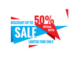 Sale vector banner - discount up to 50%. Special offer abstract layout. Limited time only! Sale banner design. Sale layout.