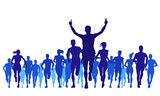 running sports and large groups silhouettes - 109728779