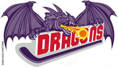 Fototapeta Dragon Fire Hockey Stick Retro