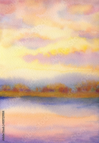 Fototapeta Watercolor landscape. Sunset over lake