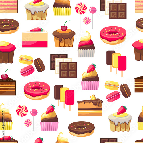 Cotton fabric Seamless pattern with sweet dessert objects