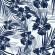 Cotton fabric Tropical seamless monochrome blue indigo camouflage background with leaves and flowers