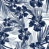 Tropical seamless monochrome blue indigo camouflage background with leaves and flowers - 109737584