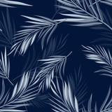 Tropical seamless monochrome blue indigo camouflage background with leaves and flowers - 109737598