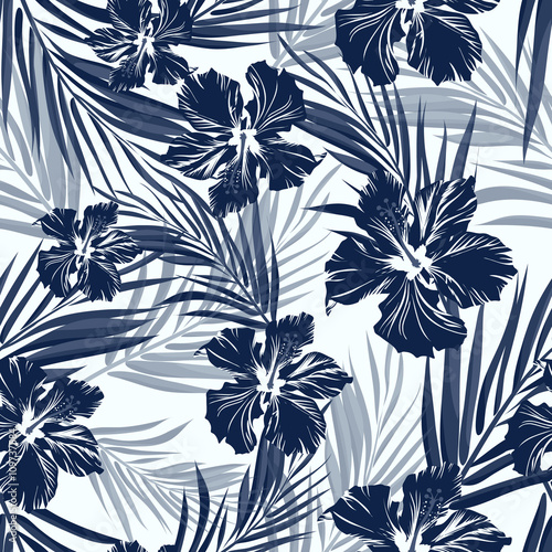 Obraz na Szkle Tropical seamless monochrome blue indigo camouflage background with leaves and flowers