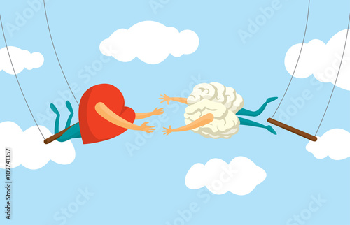 Heart and brain risky collaboration on flying trapeze