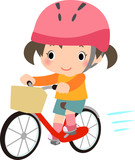 ヘルメットをかぶって自転車に乗る女の子