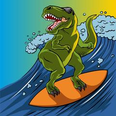 Cartoon illustration of a dinosaur surfing.