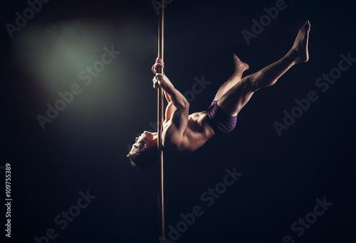 Poster Pole Dance Male Athlete