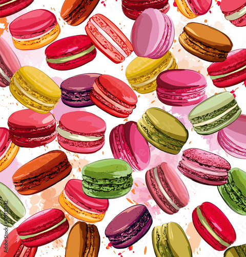 Fotobehang Art Studio Colorful french macaron cookies collection