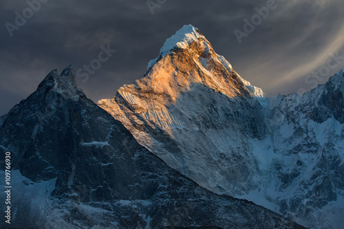Majestic snowy mountain peak - Ama Dablam (6,812 m) is a one of the most beautiful and impressive peaks of our planet Poster