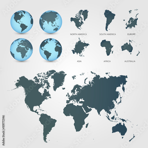 Staande foto Wereldkaart World Map with Globes detailed editable. Vector illustration.