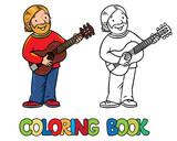 Funny musician or guitarist. Coloring book