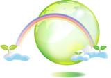 地球と双葉と虹