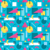 Fototapety Abstract background vector seamless pattern in fashion retro style of Memphis italian design group 80s. Abstract pastel geometric seamless pattern for fabric design, paper print and website backdrop.