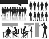 human silhouettes set. crowd. vector illustration