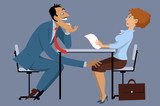 Sleazy businessman harassing a shocked female coworker, EPS8 vector illustration, no transparencies - 109810548