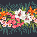 Vector tropical leaves and flowers seamless pattern. Hand painted illustration on black background. Frame border