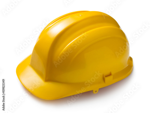 Poster Yellow hard hat isolated on white background